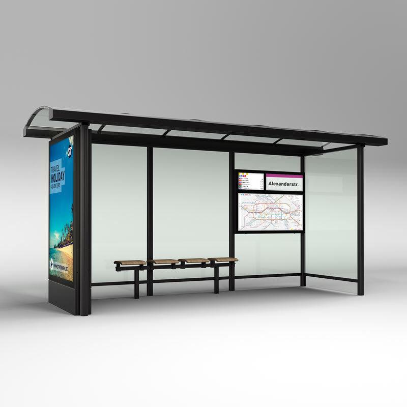 Wartehalle mit digitaler Fahrgastinformation